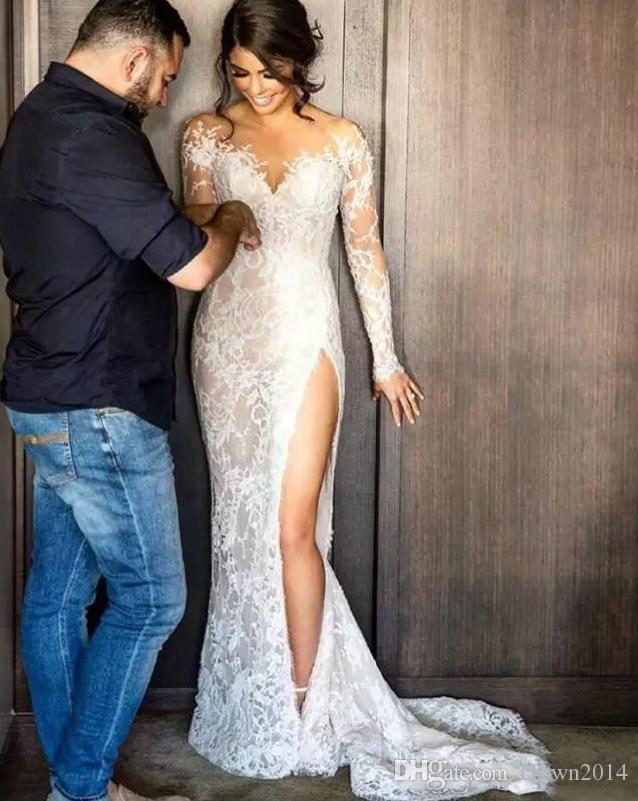 2021 Split Lace Steven Khalil Mermaid Wedding Dresses With Detachable Skirt Sheer Neck Long Sleeves High Slit Overskirt Sexy Bridal Gowns