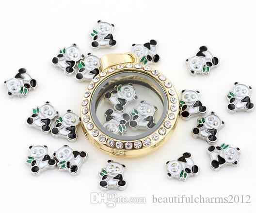20 pz / lotto panda fai da te in lega galleggiante medaglione charms fit vetro living memory magnetica medaglione di moda jewelrys