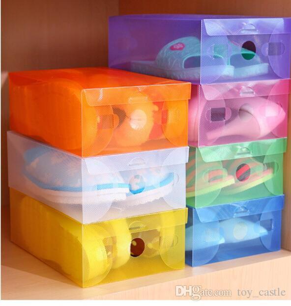 New DIY Folding Shoebox Shoes Storage Boxes Transparent Boots Organizer Plastic Transparent Toughness Shoe Box
