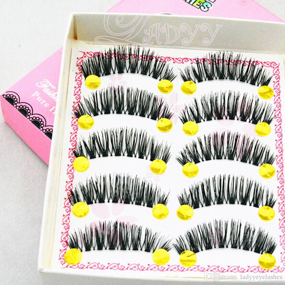 W-11 Hot Selling / Set New Makeup False Eyelashes Soft Natural Cross Long Eye Lashes Extension maquiagem