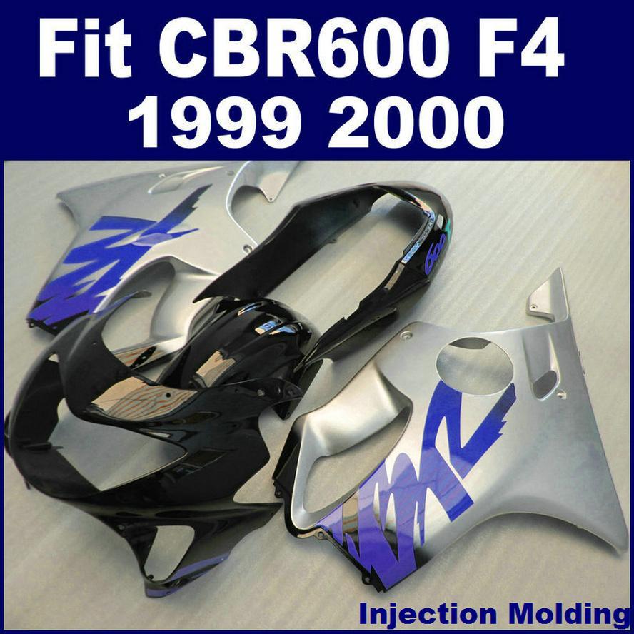 HONDA kaporta parçaları için ABS yarış Enjeksiyon kalıplama CBR 600 F4 1999 2000 gümüş siyah cbr600 f4 99 00 bodykit VTIF