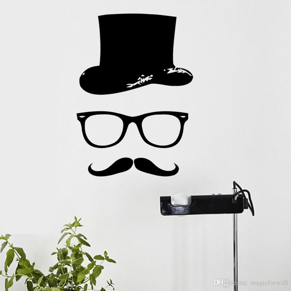 New Arrival Dress Hat Glass Mustache Wall Art Mural Decor Funny Living Room Bedroom Wallpaper Decoration Poster Home Art Wall Applique