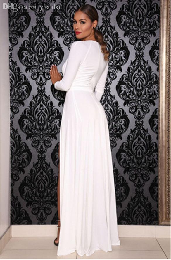 187c36fa09 Atacado-celebridade Kim Kardashian decote em V profundo manga comprida  dividida Prom Maxi vestido High Side dupla fenda longa noite vestido de  festa branco ...