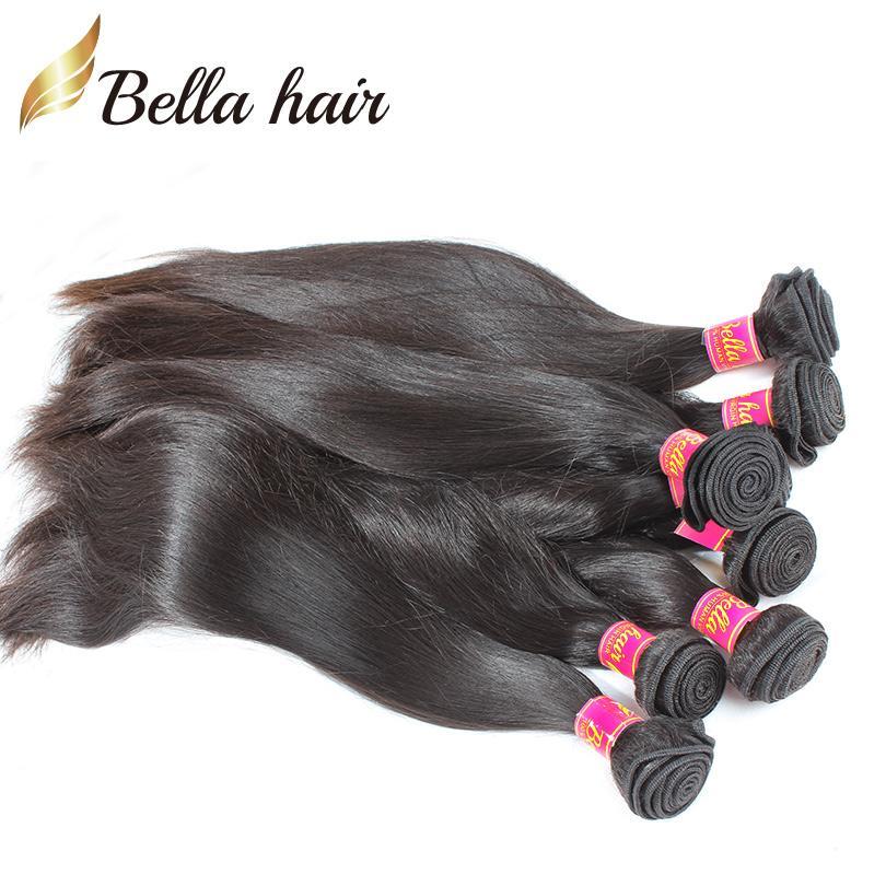 Tronco humano brasileño con 1 unid Cierres Top Extensiones de cabello recto sedoso Troquía Doble Troquía Noaborse Virgin Hair Bundles Bella Hair
