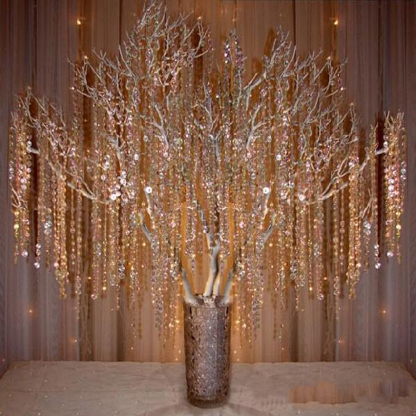 Hot Sale Crystal Prism Bead Chain Wedding Garland Christmas Tree
