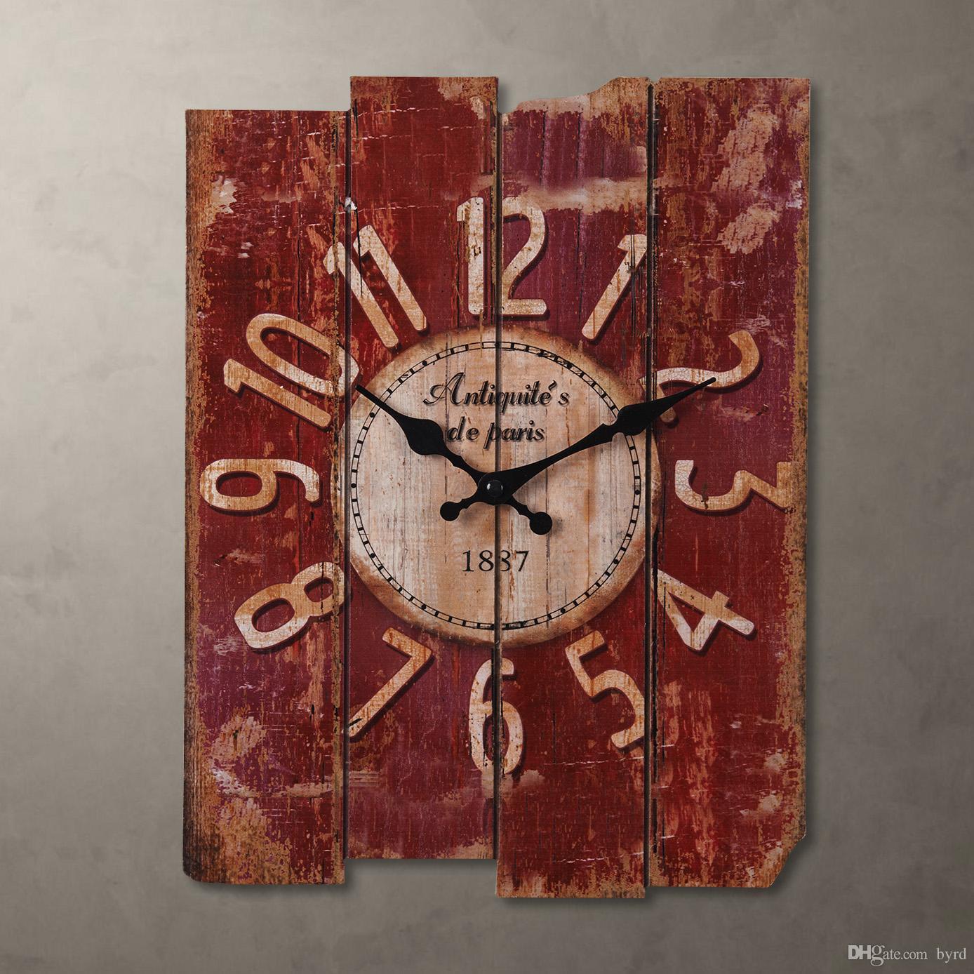 컨트리 스타일 붉은 나무 벽 시계 직사각형 30 * 39cm 0201010