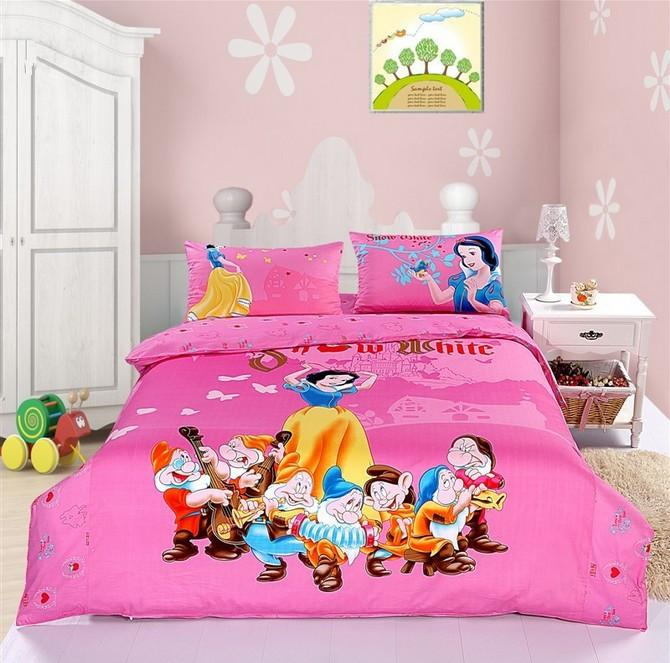 girls princess snow white bedding sets cotton queen seven dwarfs