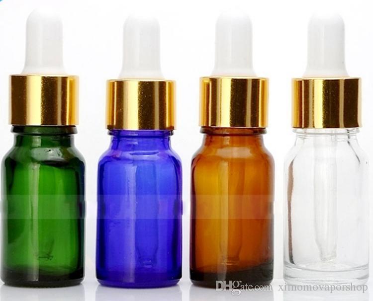 In 10ml della bottiglia di vetro Bottiglie Ambra Blu Verde Chiaro Dropper forma rotonda Vuoto E-liquido Bottiglia W / cappuccio Nero oro Olio essenziale