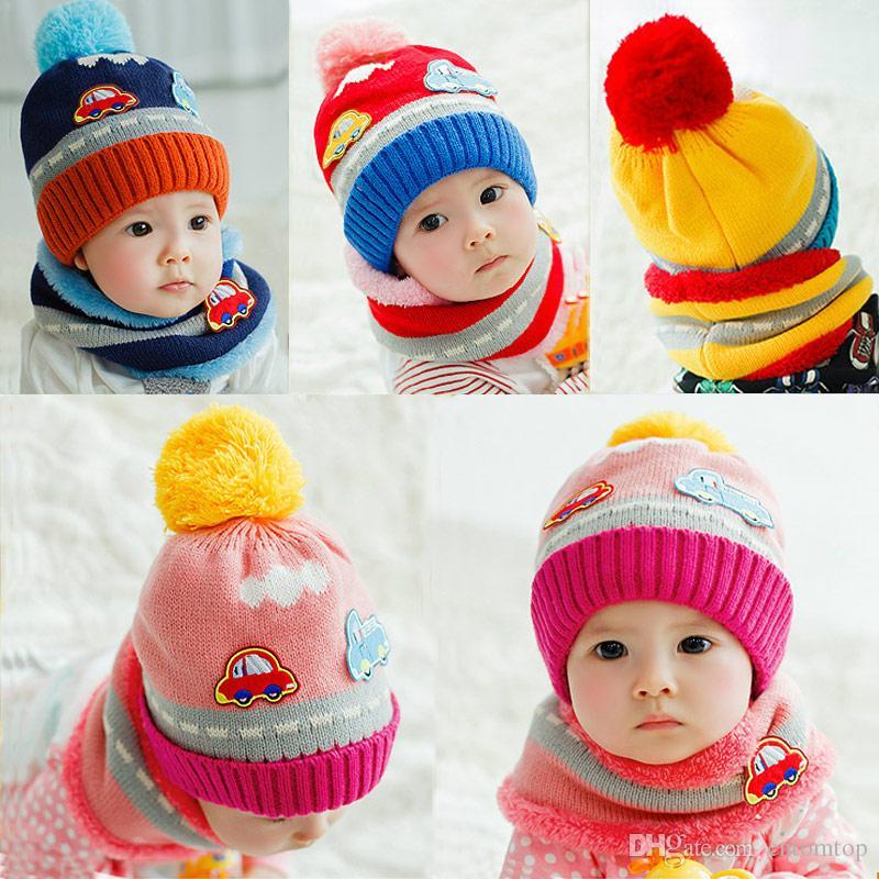 Compre Patrón Fleece New Girl Bebé Lindo Punto Hat Scarf Set De ...