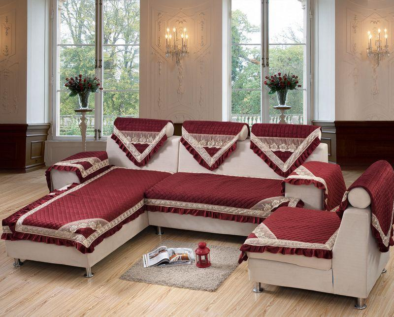 Sofa New Style new arrival, european romantic style sofa cover set, win red color