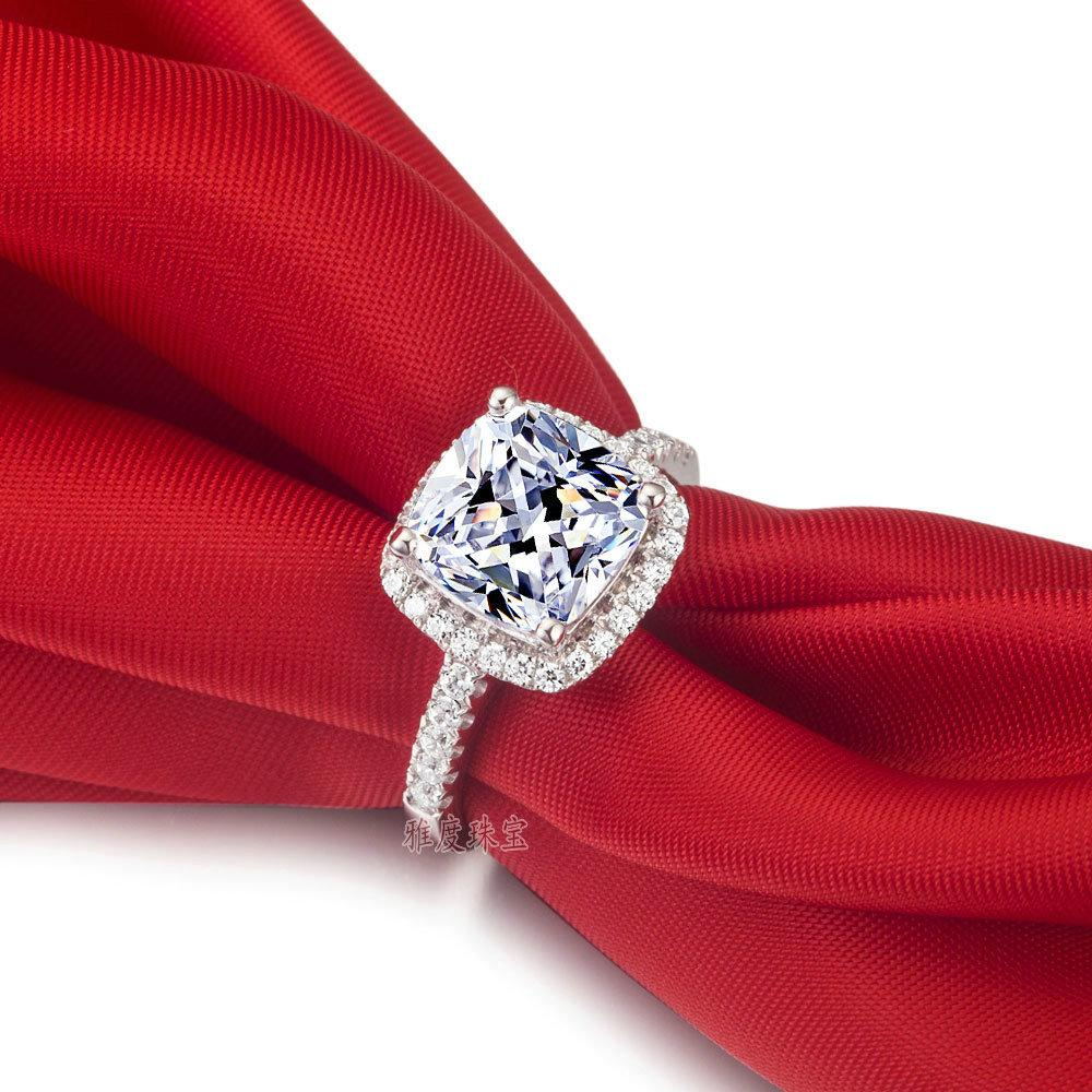 US GIA certificate SONA diamond drill three generations IJ color 3 carats, platinum -plated sterling silver women ring