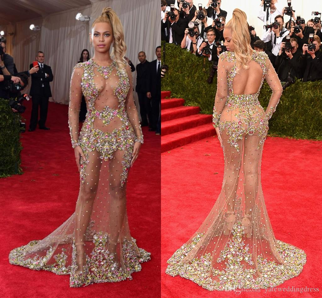 2015 Met Gala Naked Celebrity Dresses Backless Long Sleeve Mermaid ...
