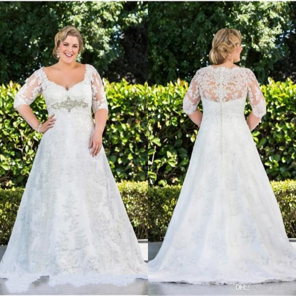 2015 Plus Size Wedding Dresses High Quality Sheer Top Lace White
