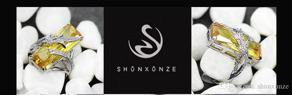 Shunxunze time Limitedディスカウントのファッションビッグウェディングリング男性と婦人服アクセサリー黄色い立方ジルコニアロジウムメッキR560