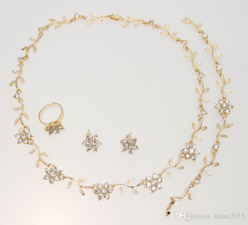 Moda Colar De Cristal Brinco Anel Brincos Conjuntos de Ouro / Banhado A Prata Africano Elegante Mulheres Partido Presentes Conjuntos de Bijuterias,
