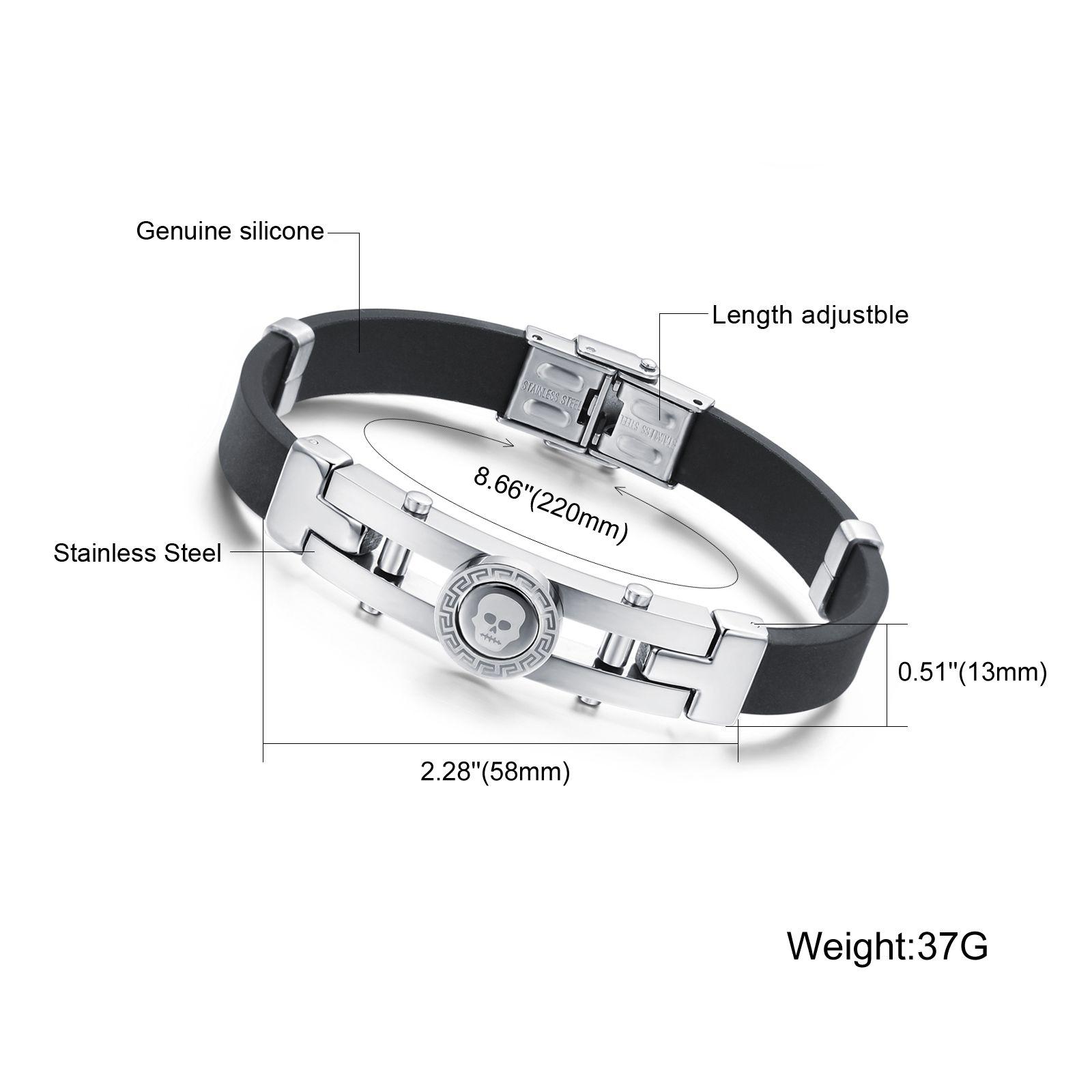 Silberton Männer Echte Silikon Edelstahl Gothic Skull Clasp Fashion Armband 8,66