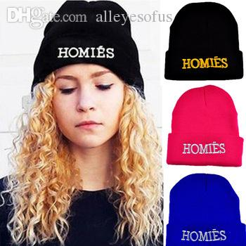 dc684d4b42756 Wholesale-Fashion Casual New Brand HOMIES Beanies Hat Knitted Wool Hats for  Women Head Cap Men Letters Hip-pop Hats Gorros Bonnets 1MZ0264 Hats for Big  Head ...