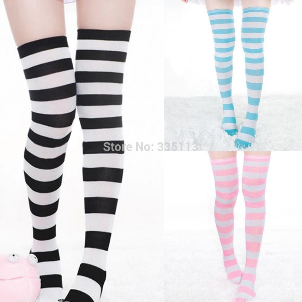 13a105afcaf 2019 Sexy New Over The Knee High Long Stocking Striped 2014 Winter Warm  Stocking For Ladies Women From Lizhang01
