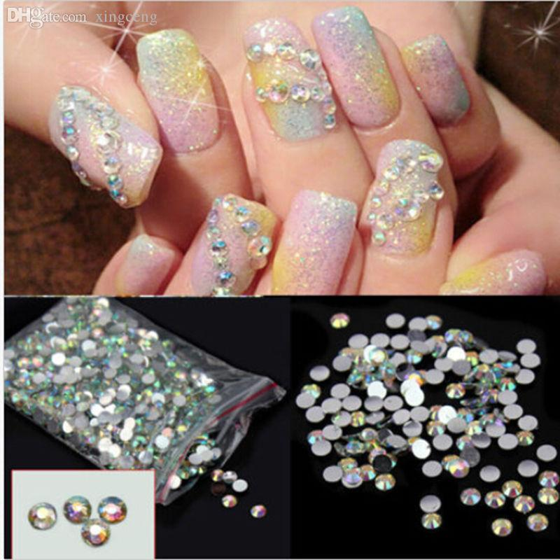 Wholesale Hot Nail Art Stickers Flatback Crystal Ab 14 Facets Resin ...