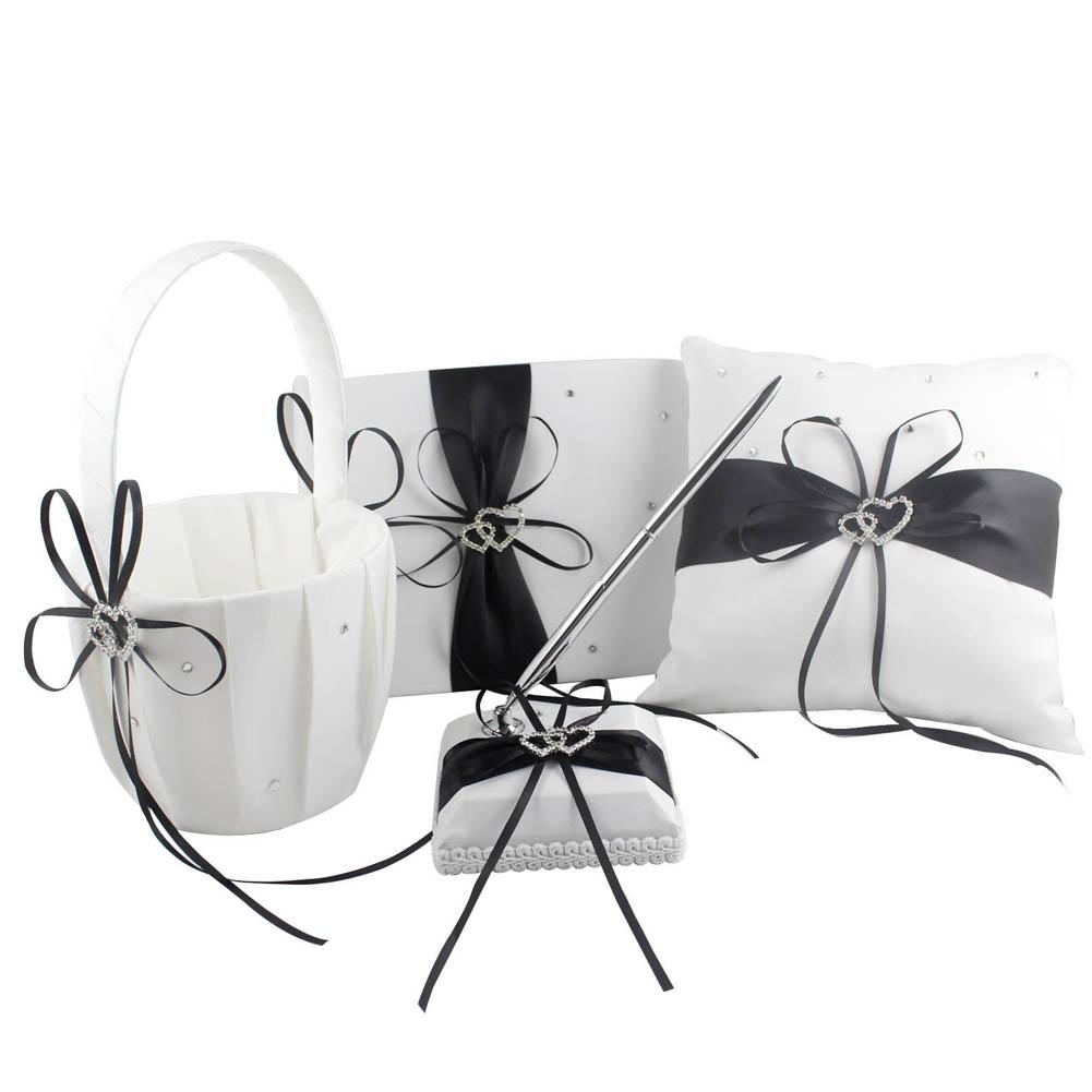 Satin Ring Pillow + Flower Basket + Guest Book + Pen Set for Wedding  Decoration Home Decor SXZ Ring Pillow Flower Basket Guest Book Online with   42.95 Set ... 3117481488