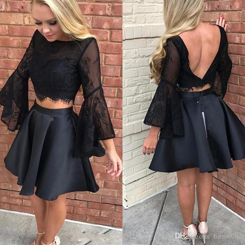e1ac2936dc3 Black Two Piece Homecoming Dresses 2017 Sheer Lace Short Prom Dress  Glamorous Long Sleeves Backless A Line Formal Prom Party Gowns Pink  Homecoming Dress ...