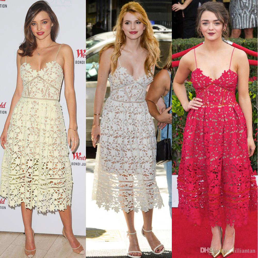 Miranda Kerr White Lace Cocktail Prom Dress Self Portrait Spaghetti Short Homecoming Party Gowns Casual Club Wear Plus Size Tea Length