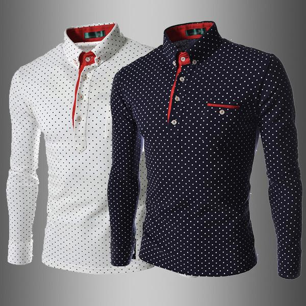 1080# New 2015 Korea Slim men's shirts Casual long sleeve dot mens shirts Fashion men's shirts white
