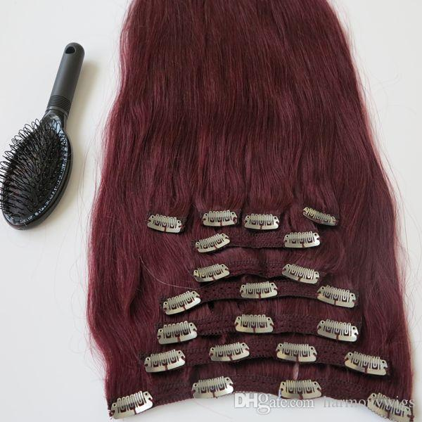 160g 20 22inch Brazilian Clip In Hair Extension 100 Humann Hair 99j