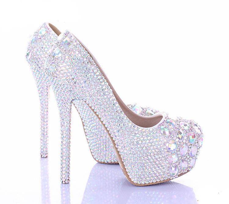 10/12/14cm Stiletto Heel Wedding Shoes Luxury Sparkly AB Crystal Bride Formal Dress Shoes Platform Rhinestone Party Prom Heels