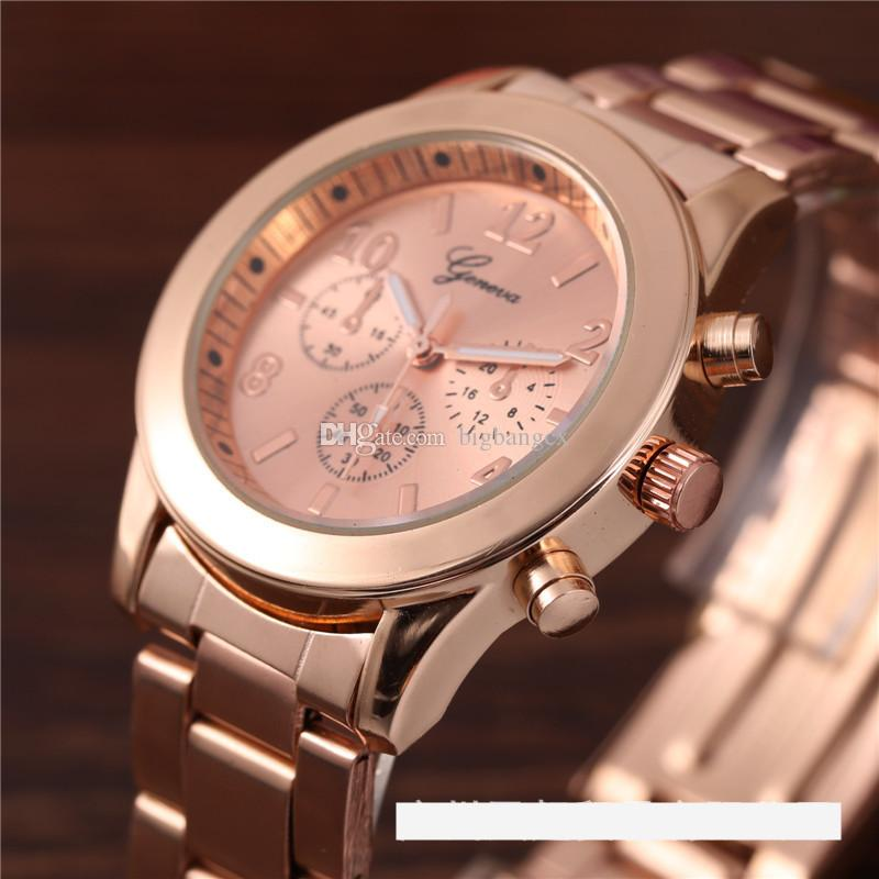 Reloj de moda Mujeres Hombres Ginebra Relojes de cuarzo de acero inoxidable de lujo Luxury Damas Fresco Dorado Analógico Tres Ojos Reloj de pulsera