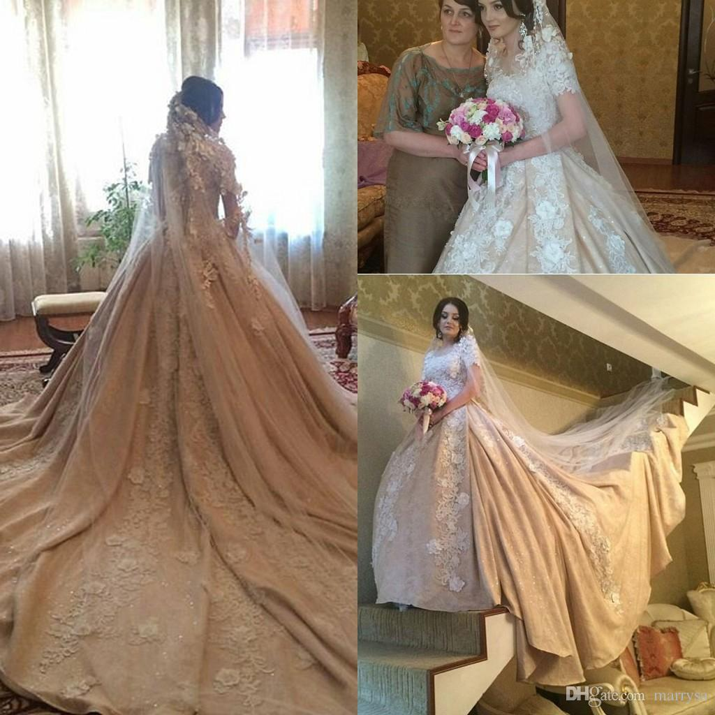 Discount 2016 Fall Winter Modest Wedding Dresses Floral