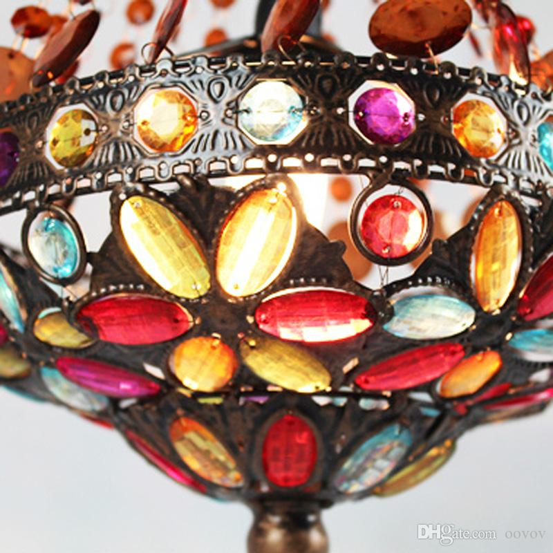 Bohemia Beads Balcony Pendant Lamp Classic Vintage Dining Room Kitchen Pendant Light Corridor Entrance Pendant Lights