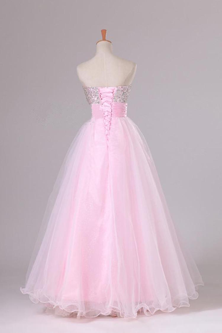 Organza Tulle Robe De Soirée De Robe De Bal Rose 2016 Sweetheart Perles Robe De Soirée À Lacets Vestidos De Noiva
