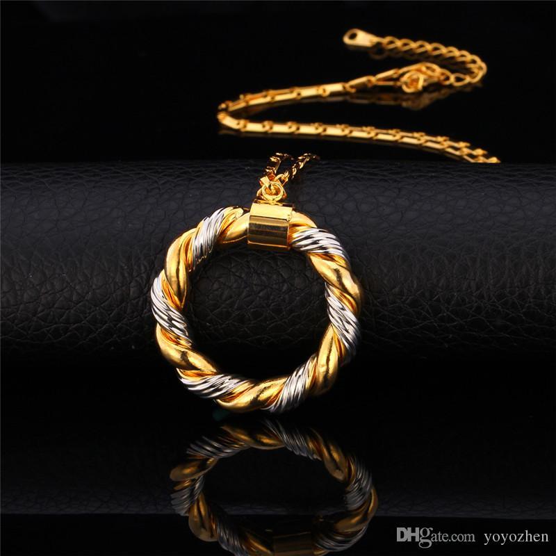 2015 Two-Tone золото колье платина / 18K Real позолоченных Модных ожерелий серьги обруч женщины комплект ювелирных изделий