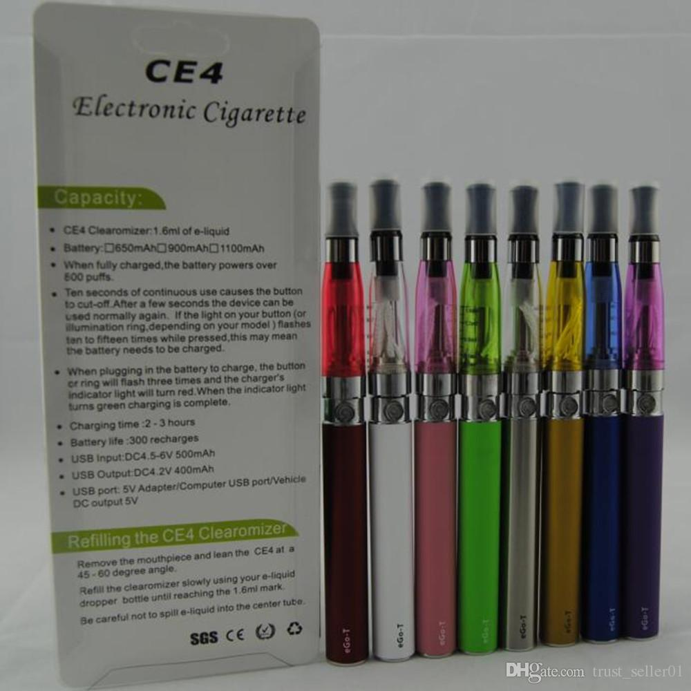 حار الأنا كاتب أطقم ce4 المرذاذ ecigs evod 650 مللي أمبير 900 مللي أمبير 1100 مللي أمبير بطارية EGO-T ce4 البخاخة clearomizer خزان vape نفطة كيت dhl