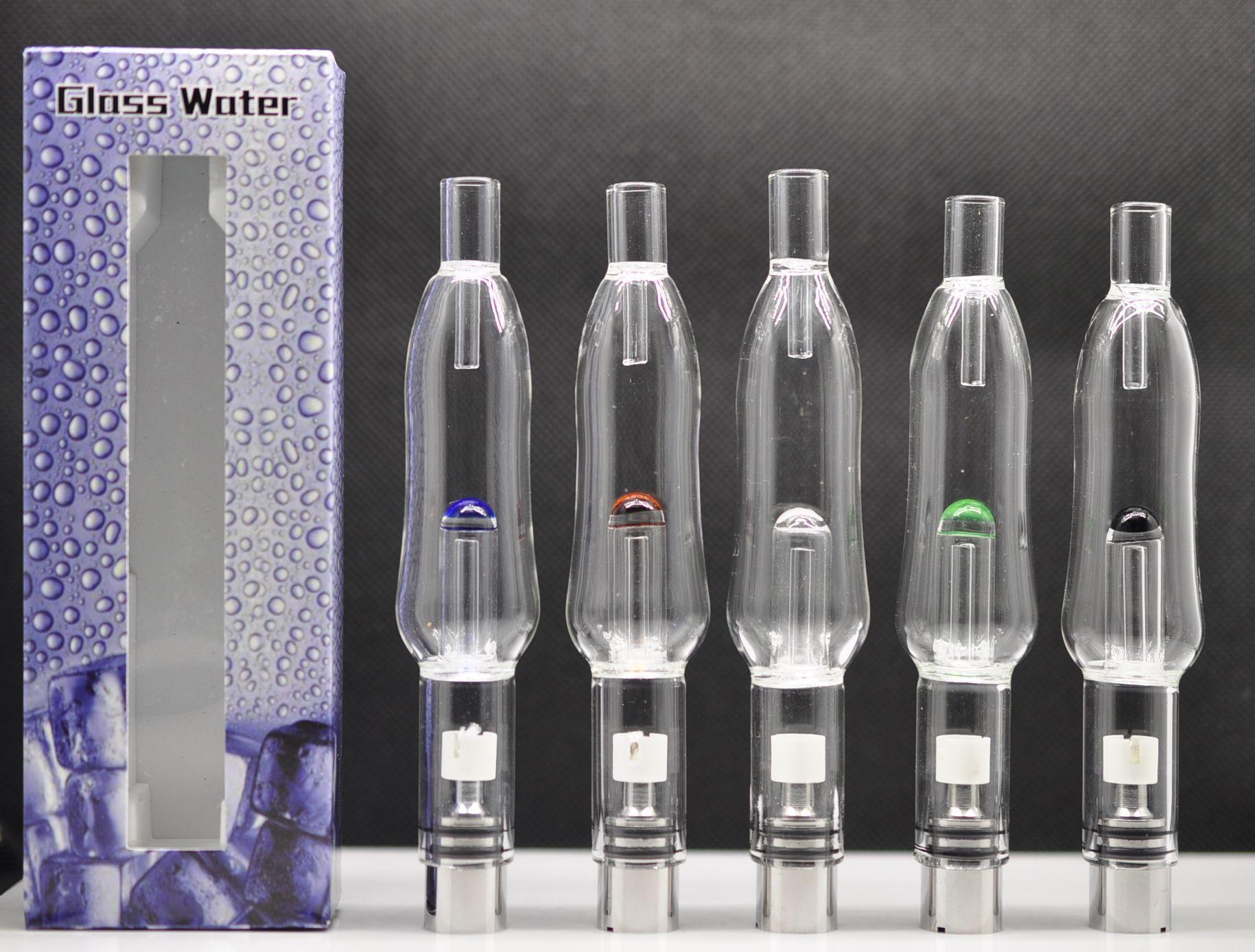 2016 New Glass Water Aqua Bubbler Silver Atomizer hookah shisha bong Tank 510 Thread Vaporizer Pen Dry Herb Wax Extra 2 Coils