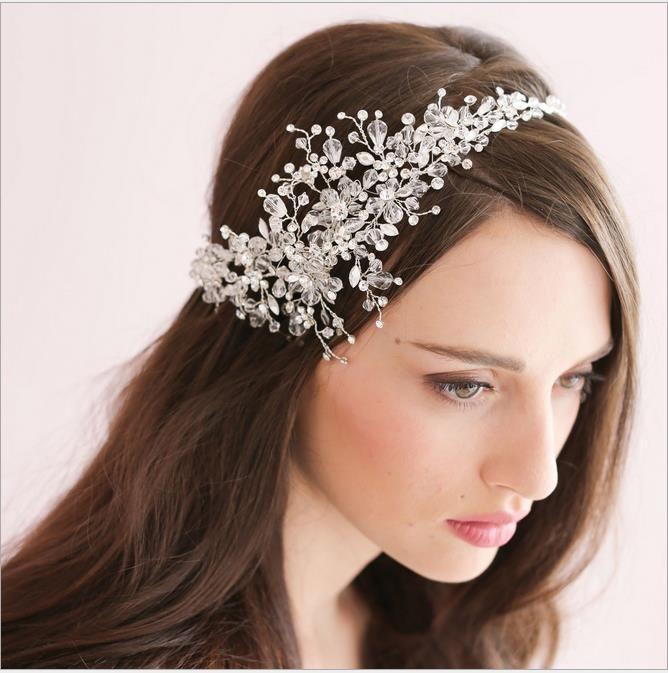Handmade Crystal Ice Bridal Sparking Headpiece Beaded Wedding ...