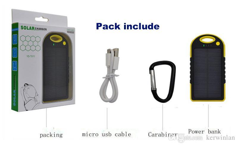 5000mAh chargeur solaire et batterie panneau solaire banque d'alimentation portable pour téléphone portable ordinateur portable caméra MP4 avec lampe de poche imperméable à l'eau antichoc