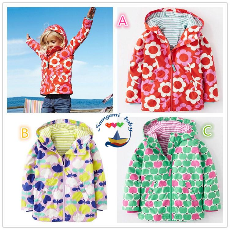 07eeea727 Girls Jackets With Hooded Flower Trench Outerwear Kids Coat Children ...