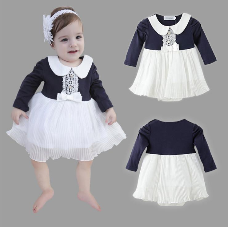 160f00b38b79 2019 2018 New Spring Fashion Infant Girl Romper Dresses Patchwork ...