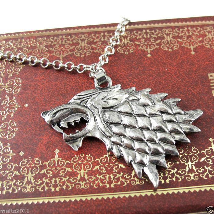 Free 12Pcs/Lot Game of Thrones Stark Lannister Targaryen Wolf Necklace and Key Chains HOT