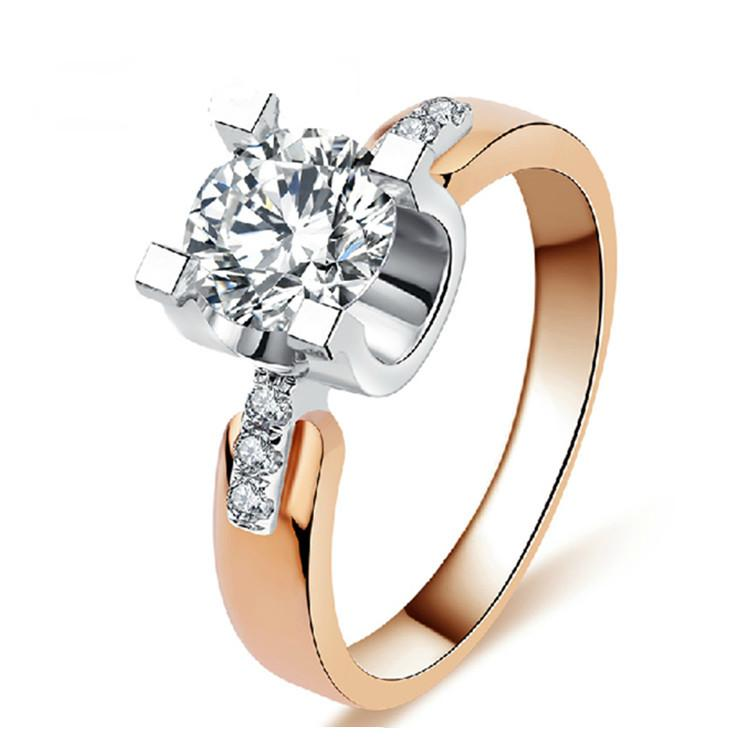 18K Rose Gold Filled Wedding Rings For Women Engagement Jewelry
