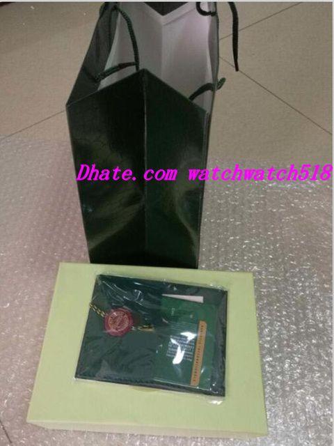 Spedizione gratuita New Luxury Mens Box originale di marca verde scatole di carta orologi libretto carta regalo uomo uomo donna vendita