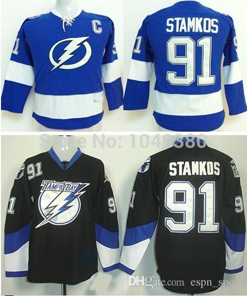 2018 2015 youth tampa bay lightning hockey jersey cheap kids 91 steven stamkos jersey black blue 100