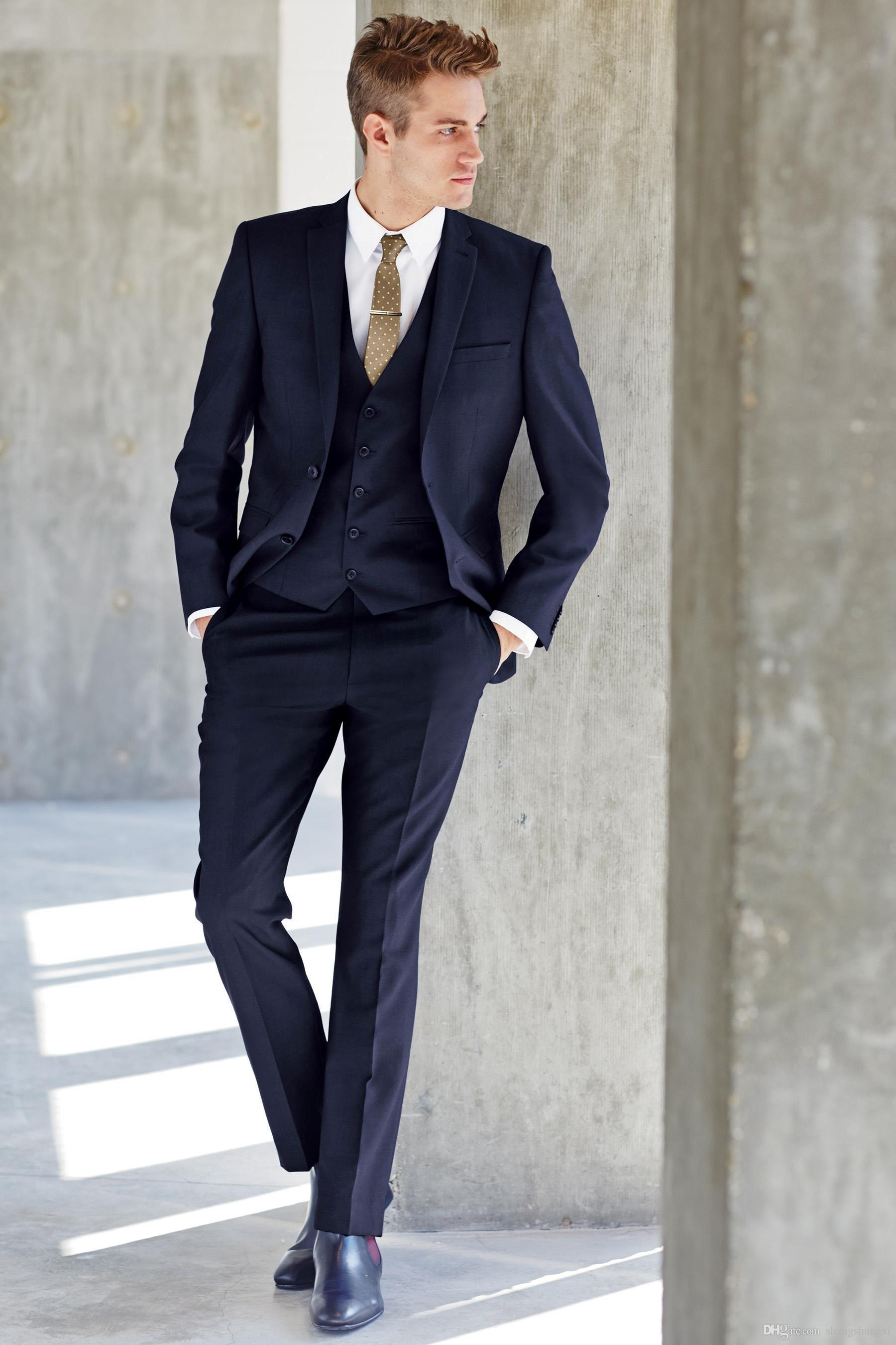 New Notched Lapel Dark Blue Groom Tuxedos Slim Fit Best Men'S ...