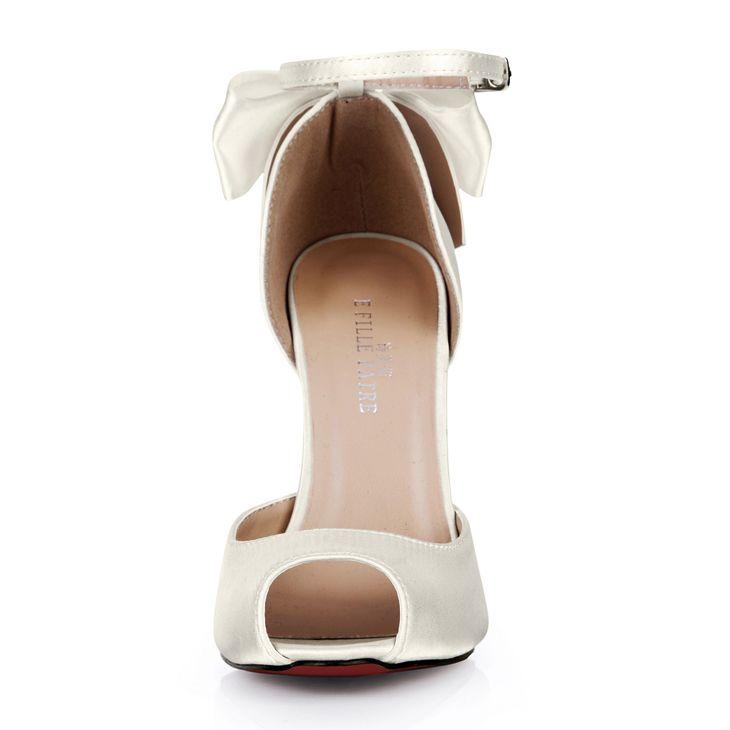 2015 abiti da sposa economici scarpe da sposa avorio fibbia cinturino alta sottile tacchi arco peep toe moda tacchi alti economici modesti donne sandali