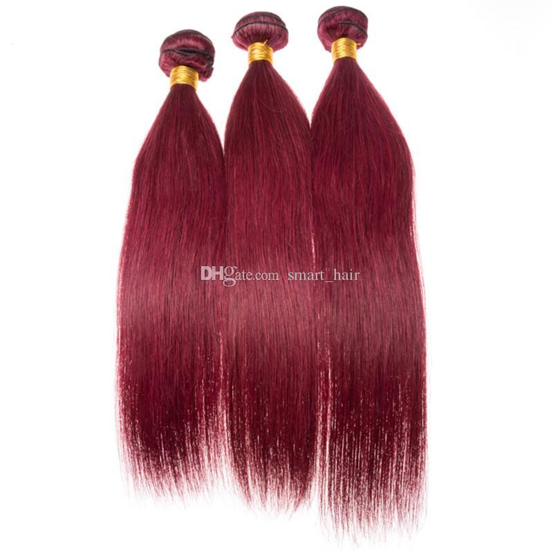 Silky gerade brasilianische Jungfrau 99J Haarbündel mit Frontal Schließung Burgund 99J Haar Schuss mit Ohr zu Ohr Frontal 13x4