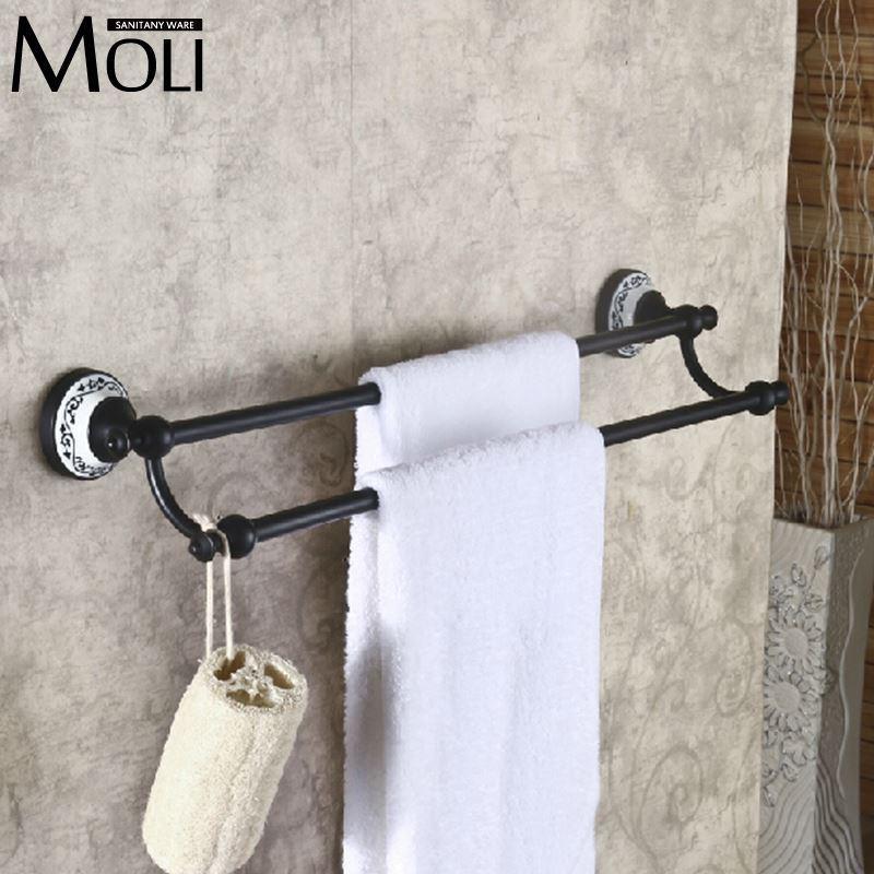 vintage double towel bar oil rubbed bronze towel rack towel rail black towel holder bathroom accessories