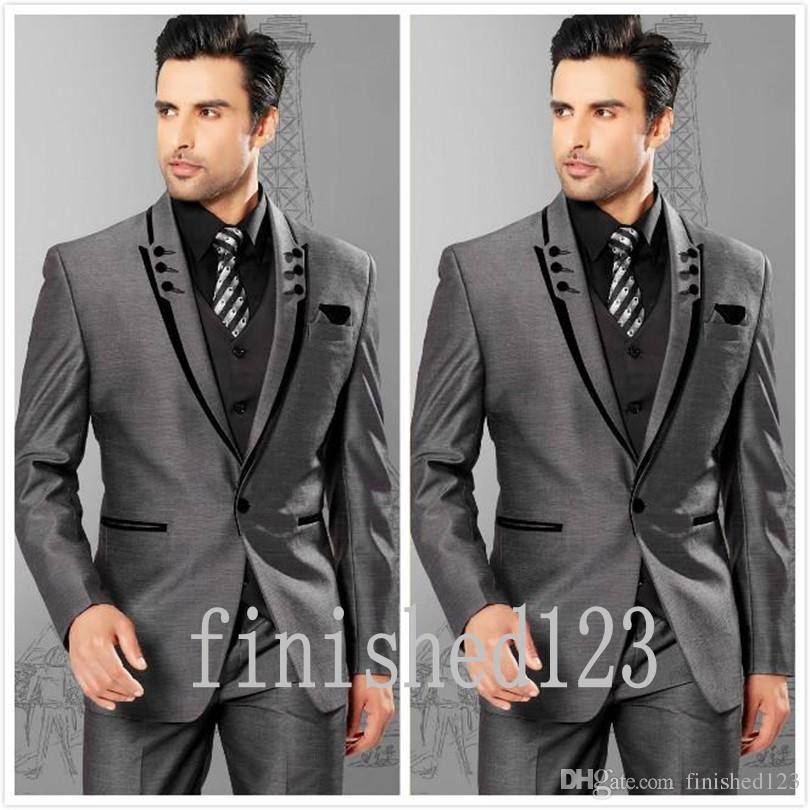 유행 하나 버튼 회색 신랑 턱시도 피크 옷깃 Groomsmen 최고의 남자 웨딩 댄스 파티 정장 자켓 + 바지 + 조끼 + 넥타이 G5180
