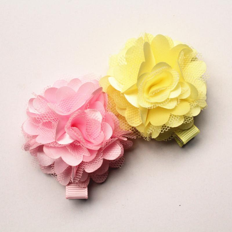 24pc /Lot Cute Floral Gauze Hair Clips Lovely Kids Hairpin Chiffon Felt Flower Girls New Arrival Barrettes Free Shipping